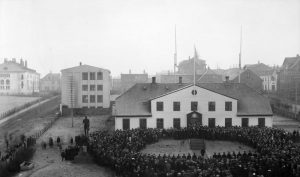 Fullveldi fagnað við Stjórnarráðshúsið 1. desember 1918